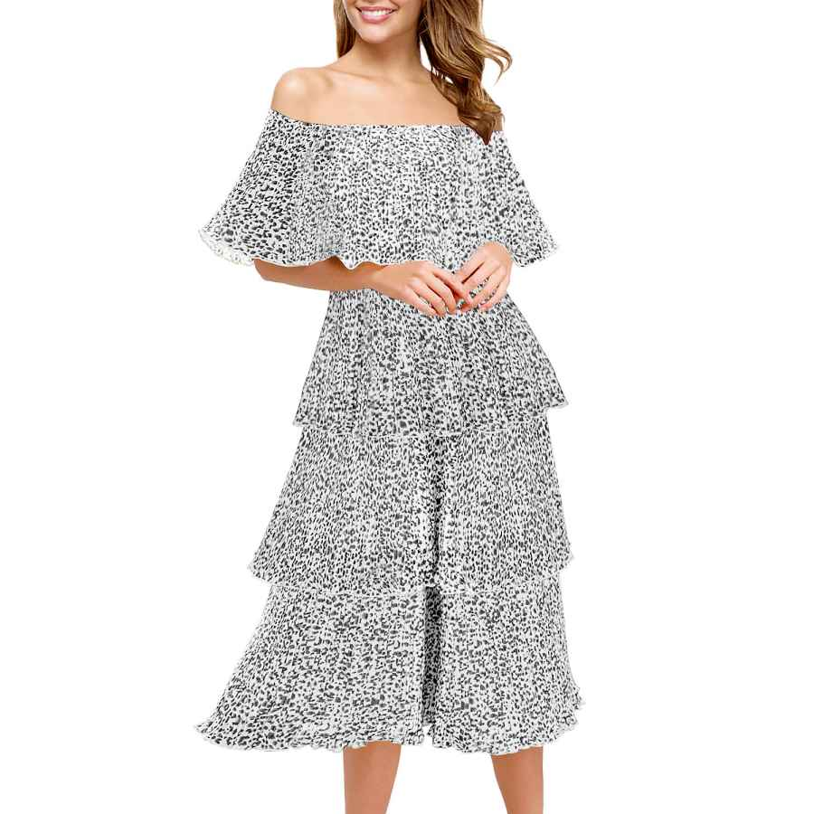 Womens Casual Dresses Women's Off The Shoulder Mini Layered Ruffle Dress Summer Short Sleeve Loose Casual Chiffon Party Midi Beach Dress