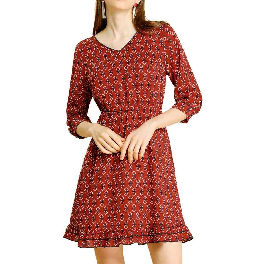 Womens Casual Dresses Allegra K Women's Ruffle Hem Geometric Motifs V Neck 3/4 Sleeve Chiffon Dress