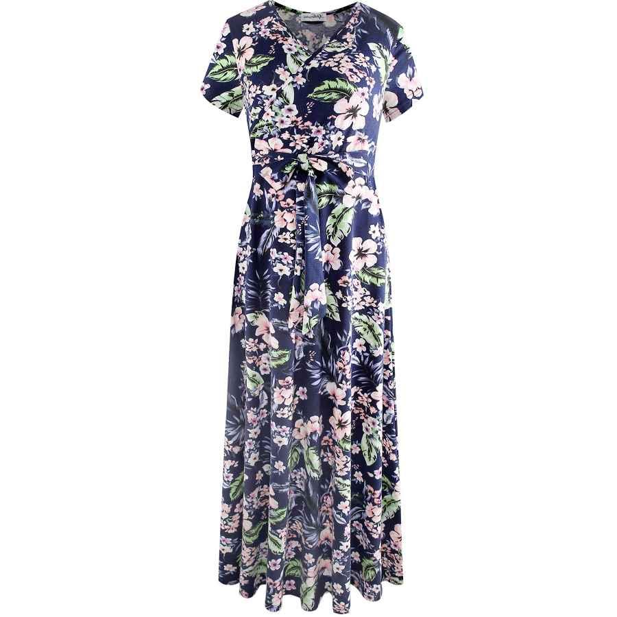 Womens Casual Dresses Aphratti Women's Bohemian Casual Short Sleeve V Neck Faux Wrap Floral Maxi Dress