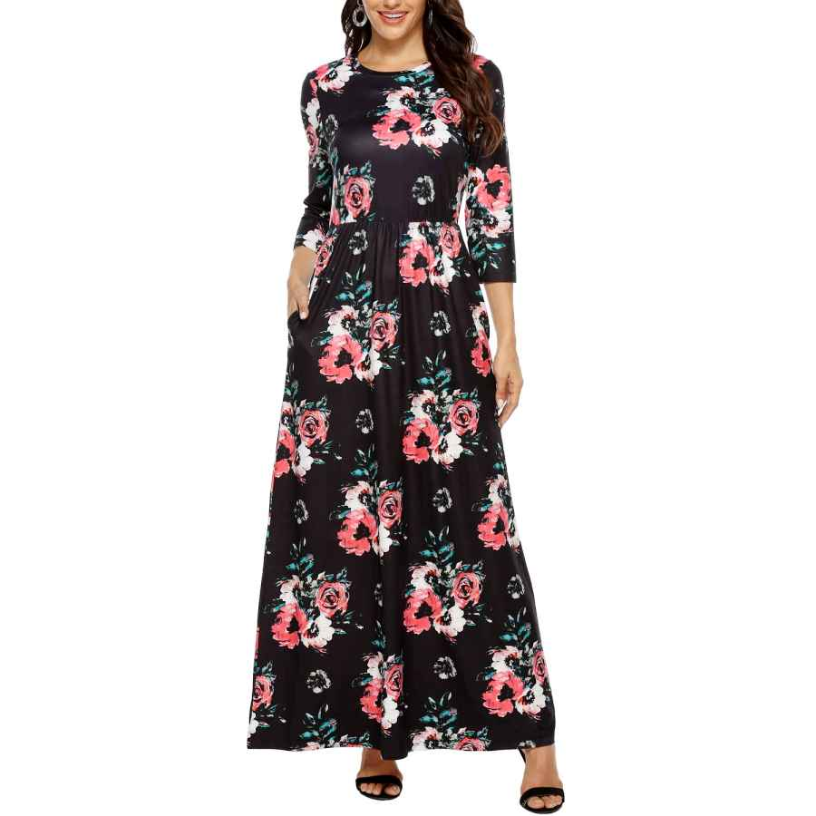 Womens Casual Dresses Kranda Womens 3/4 Sleeve Round Neck Causal Floral Maxi Dresses With Pockets