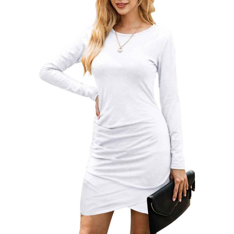 Womens Casual Dresses Nsqtba Womens Dresses Long Sleeve Round Neck Casual Bodycon Mini Dress