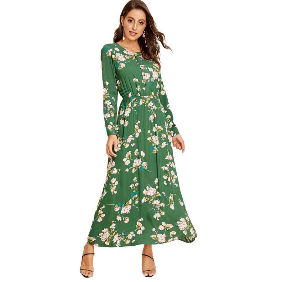 Womens Casual Dresses Milumia Women's Casual Elegant Round Neck Floral Print Self Tie Waist Dress