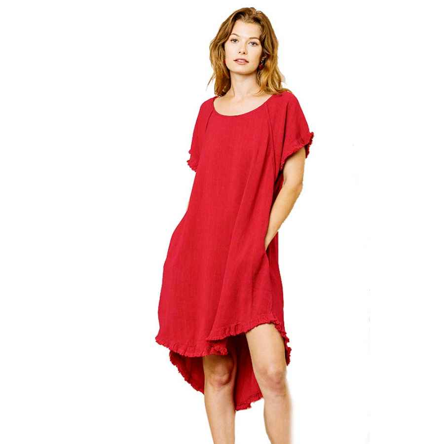 Womens Casual Dresses Umgee Lovable High Low Dress! The Solid Is Linen And The Stripe Is Cotton