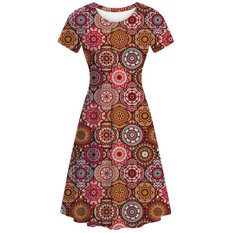 Womens Casual Dresses Uideazone Women Short Sleeve Scoop Neck Summer Casual Beach Flared A-Line Midi Dress