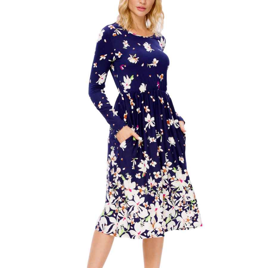 Womens Casual Dresses Simier Fariry Fall Women's Floral Long Sleeve Pockets Midi Work Casual Dress