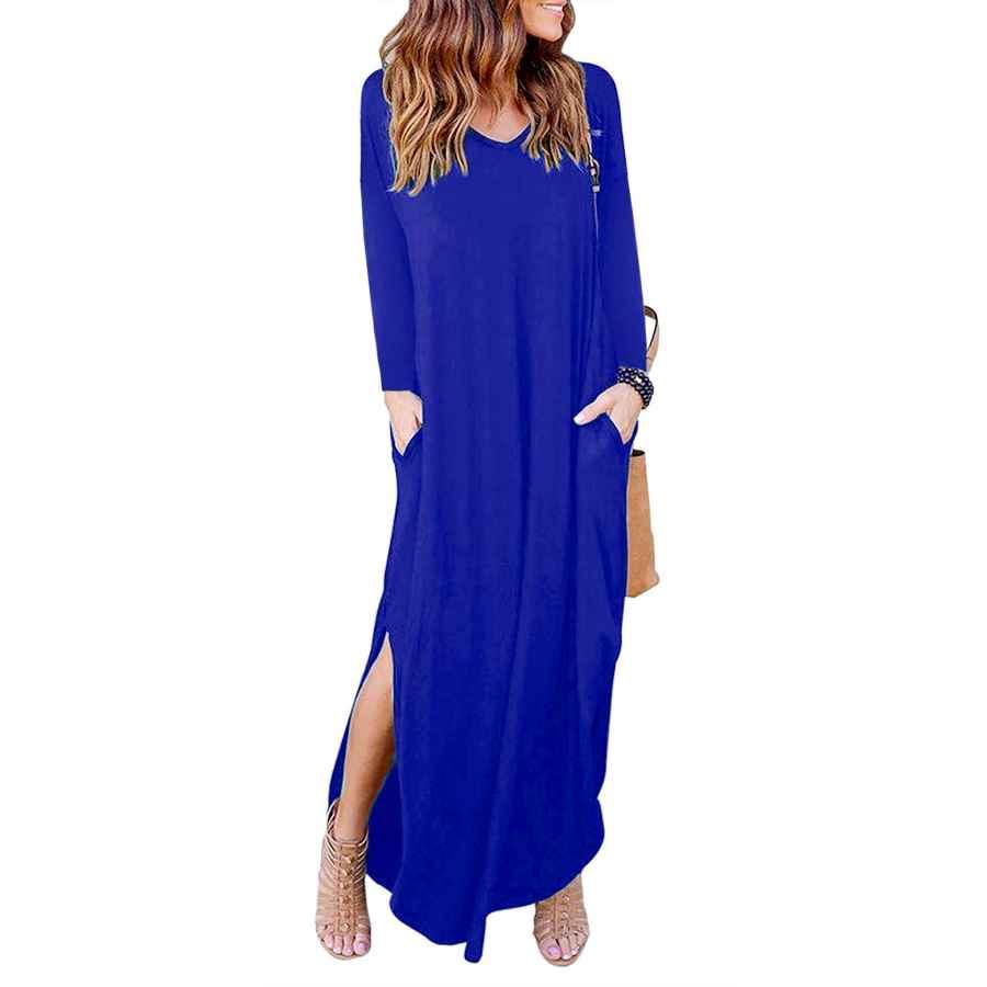 Womens Casual Dresses Sundray Women's Long Dress Casual V-Neck Loose Pocket Short Sleeve Split Maxi Dresses