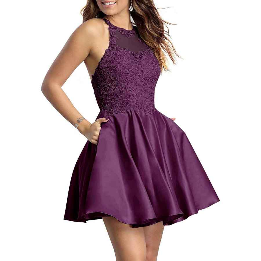 Womens Casual Dresses Naxy Juniors Halter Sleeveless Applique Beaded Short Homecoming Dresses With Pockets