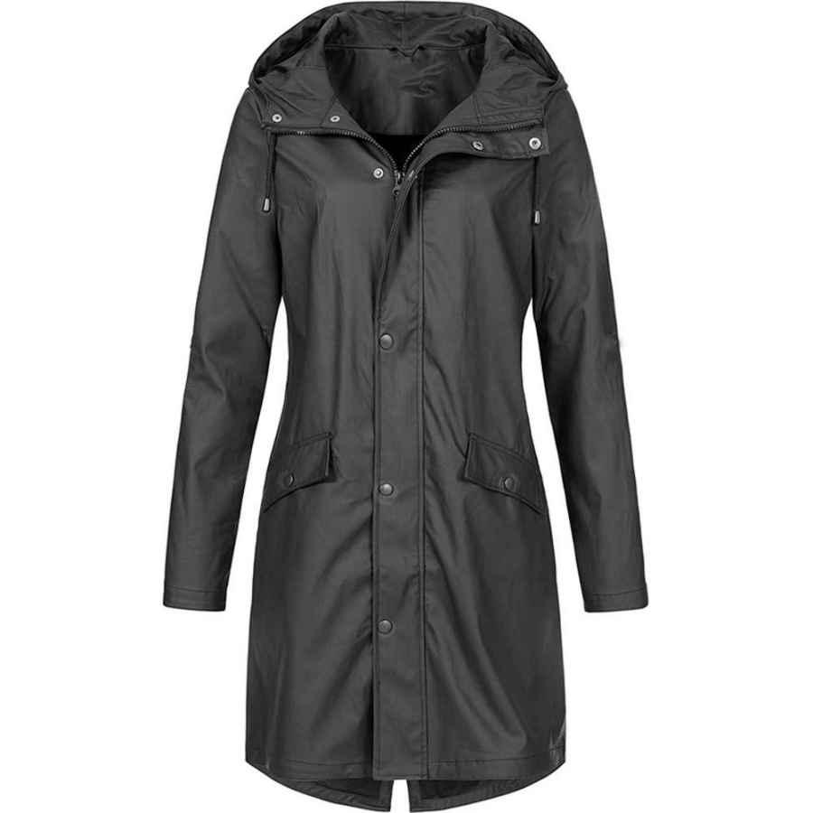 Women's Solid Rain Jacket Outdoor Jackets Waterproof Hooded Raincoat Windproof Solid Color Coat Top Outerwear Hoodies