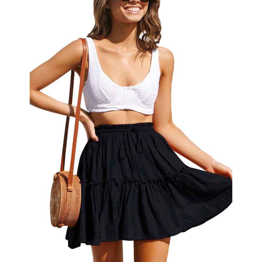 Womens Casual Dresses Chainjoy Womens Fashion Ruffle Skirt Boho Cute High Waist Casual Beach Short Mini Skirt
