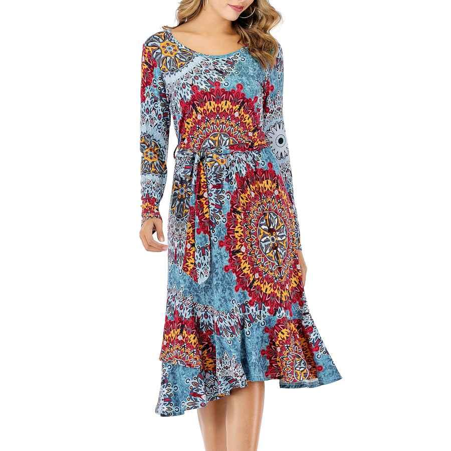 Womens Casual Dresses Gutgs Women's Plain Casual Flowy Long Sleeve Midi Dress With Belt