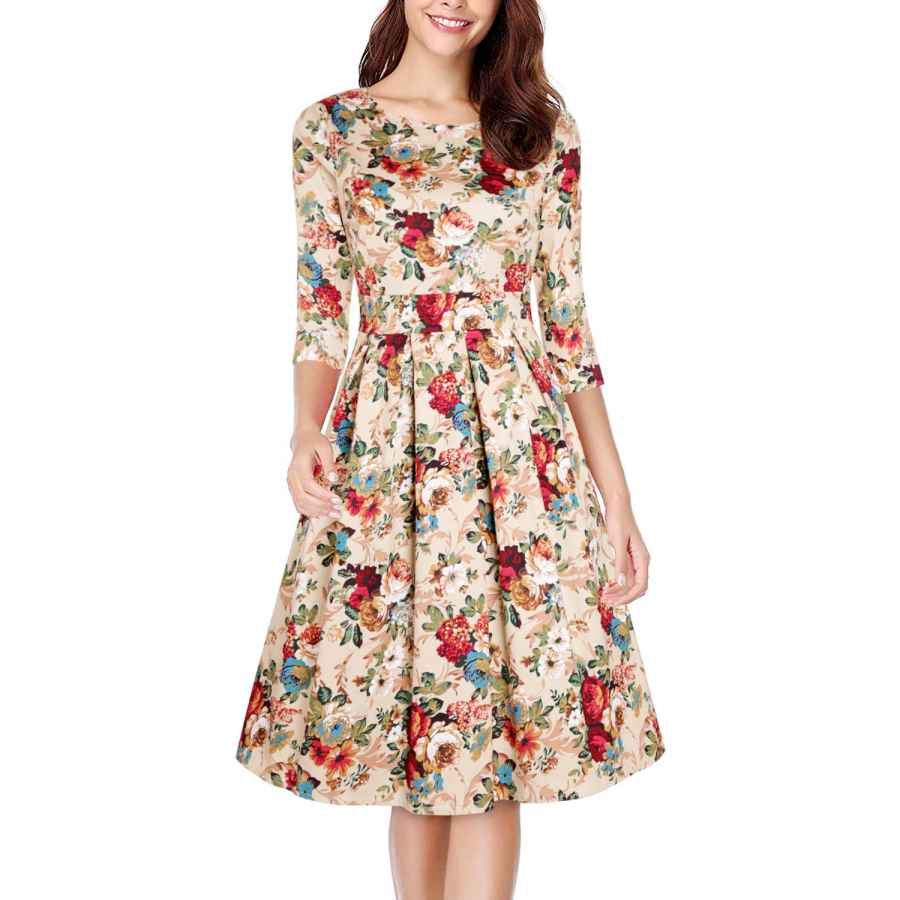 Womens Casual Dresses Oten Women Vintage Christmas Floral Scoop Neck Swing A Line Cocktail Party Dress 3/4 Sleeve With Pockets