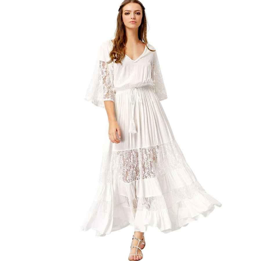 Womens Casual Dresses Milumia Women's Bohemian Drawstring Waist Lace Splicing White Long Maxi Dress