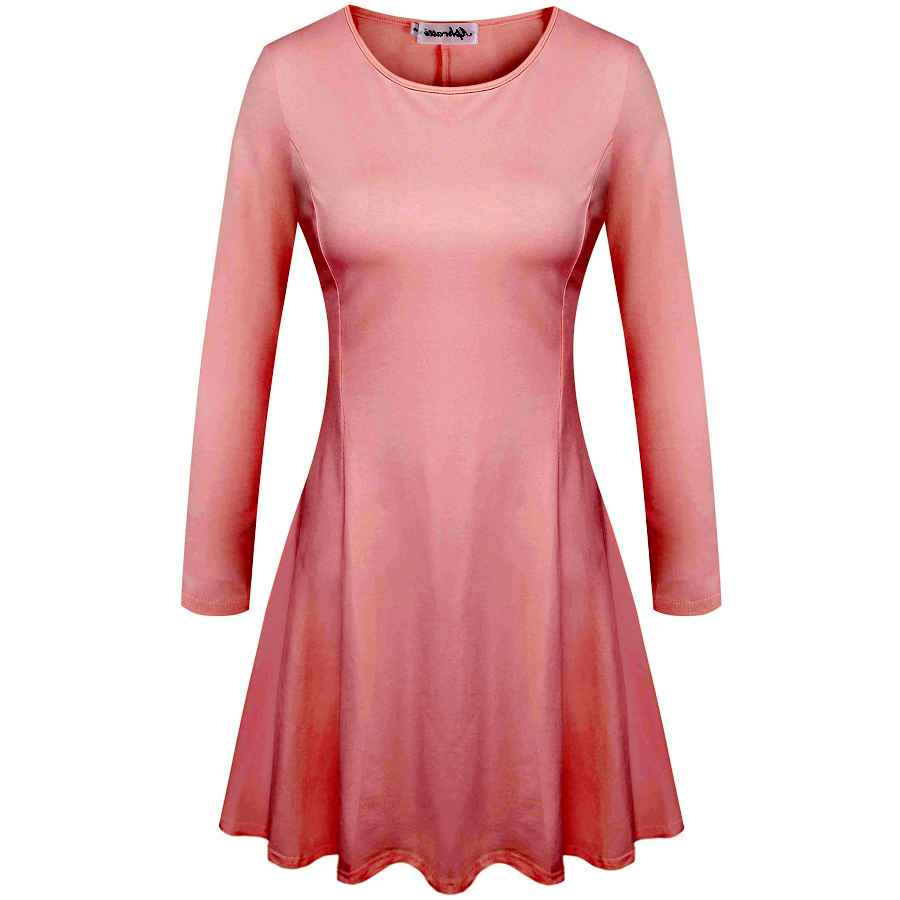 Womens Casual Dresses Aphratti Women's Crew Neck Long Sleeve Fit And Flare Casual Skater Dress
