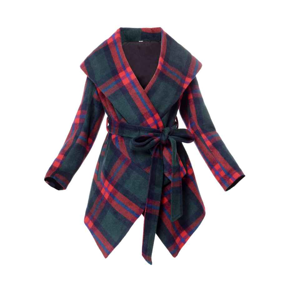 Women Plaid Overcoat Turn Down Shawl Collar Earth Tone Check Red Green Grid Wool Blend Coat