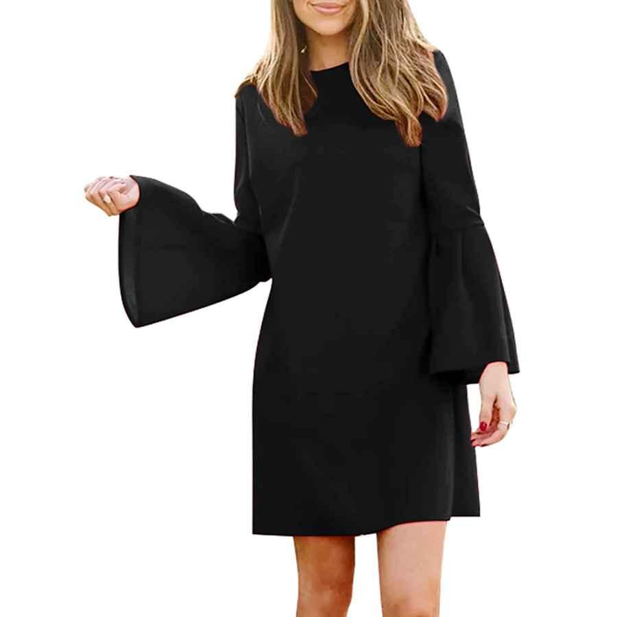Womens Casual Dresses Manydress Women's Dress Long Bell Sleeve Elegant Mini Shift Party Dress For Curve Women