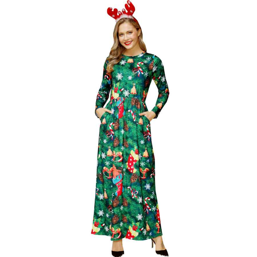Womens Casual Dresses For G And Pl Women Christmas Long Sleeve Printed Maxi Dress