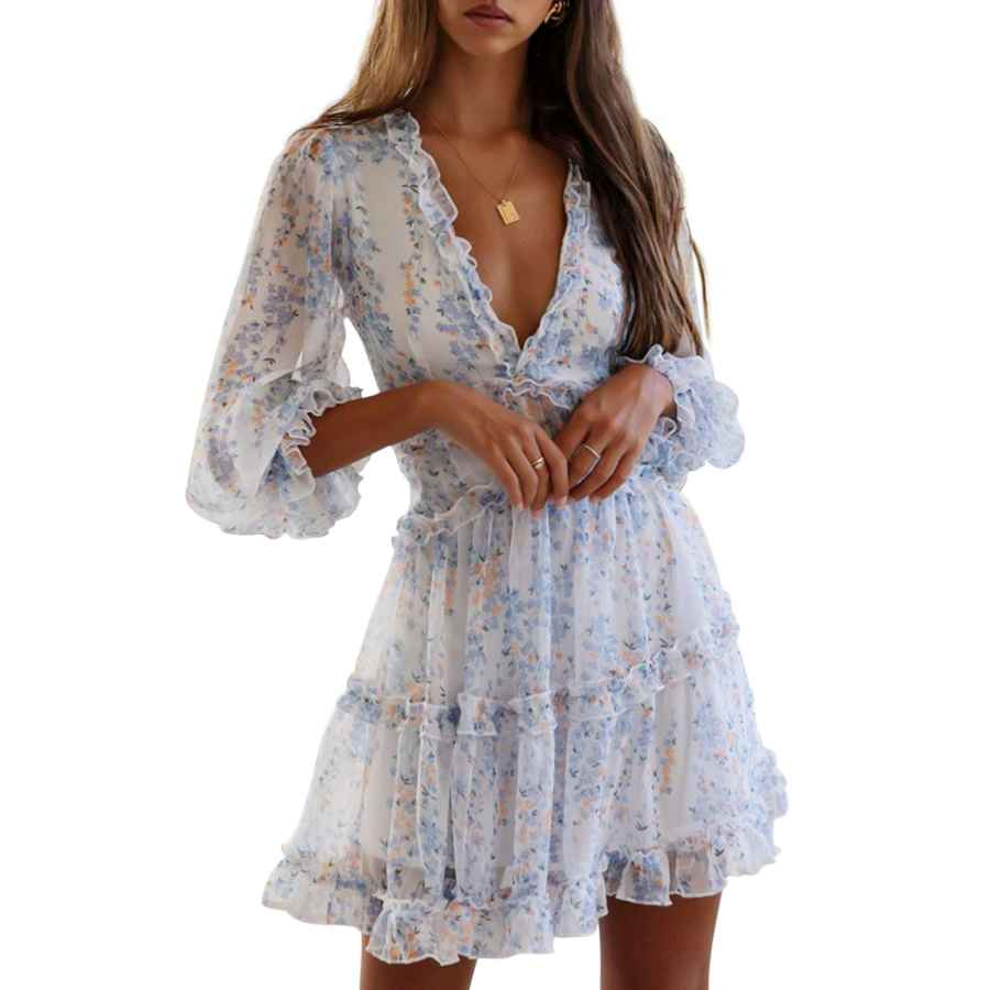 Womens Casual Dresses T1fe 1sfe Boho Ruffle Floral Print Dress Long Sleeve Deep V Neck Backless Swing Mini Dresses For Women Party Wedding