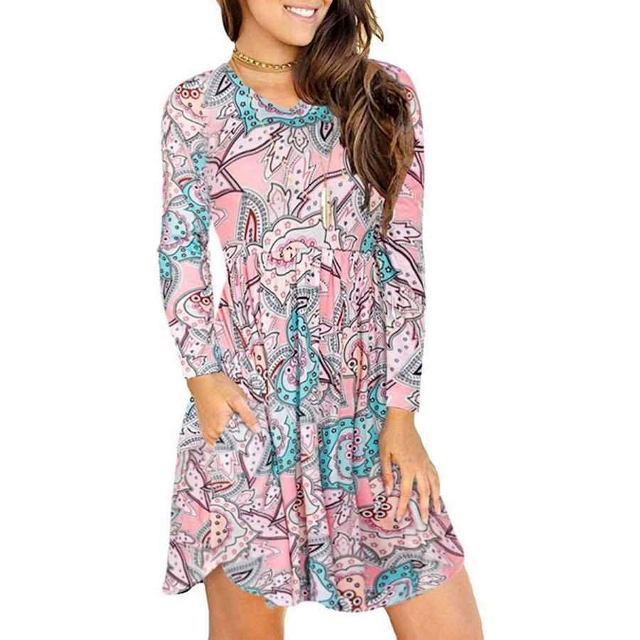 Womens Casual Dresses Beyove Women's Floral Print Pockets T-Shirt Dress V-Neck Loose Long Sleeve Casual Dresses