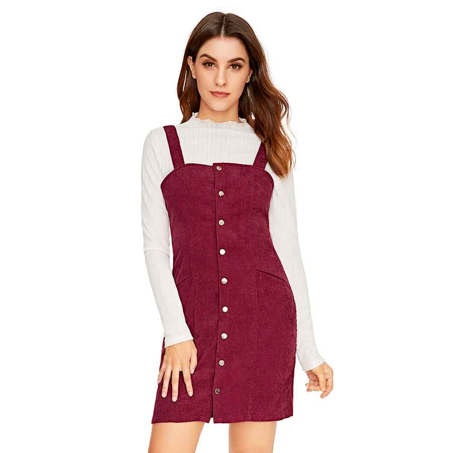 Womens Casual Dresses Floerns Women's Corduroy Button Down Pinafore Overall Dress With Pockets