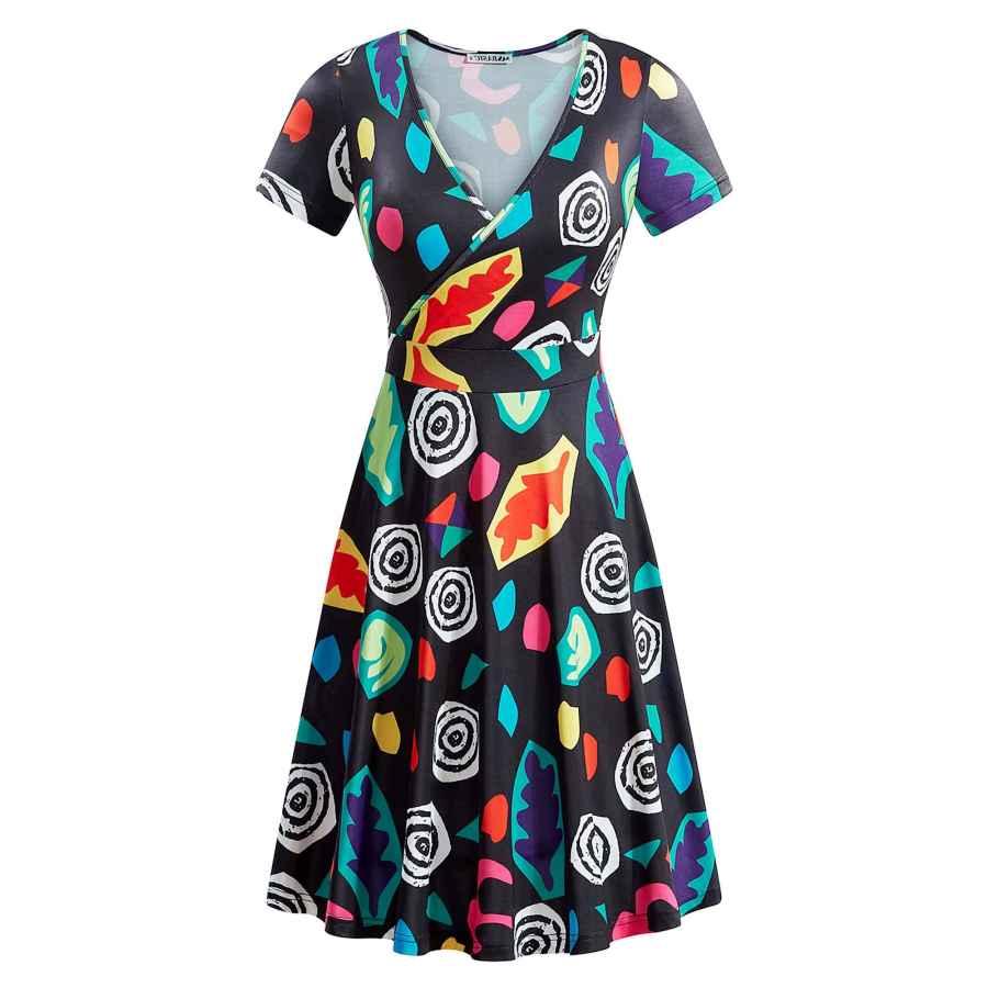 Womens Casual Dresses Msbasic Short Sleeve Wrap V Neck Casual A Line Halloween Dress