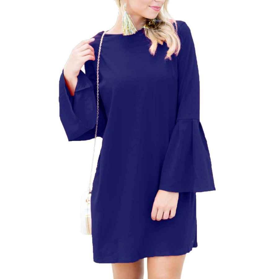 Womens Casual Dresses Floralmia Women's Bell Sleeve Shift Dress Ruffle Tunic Dress Round Neck Short Mini Dresses