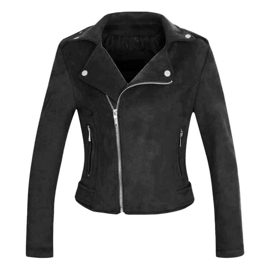 Chartou Women's Stylish Notched Collar Oblique Zip Suede Leather Moto Jacket