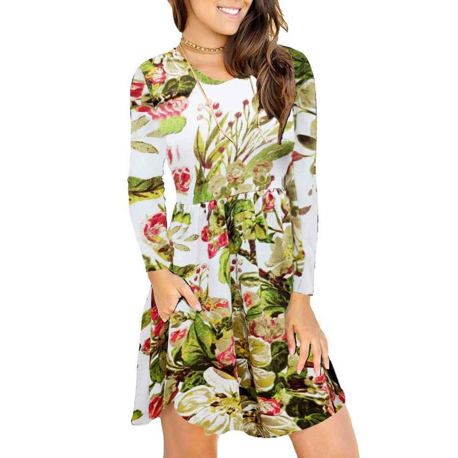 Womens Casual Dresses Hodeys Women's Long Sleeve Pocket Loose Casual T-Shirt Dress