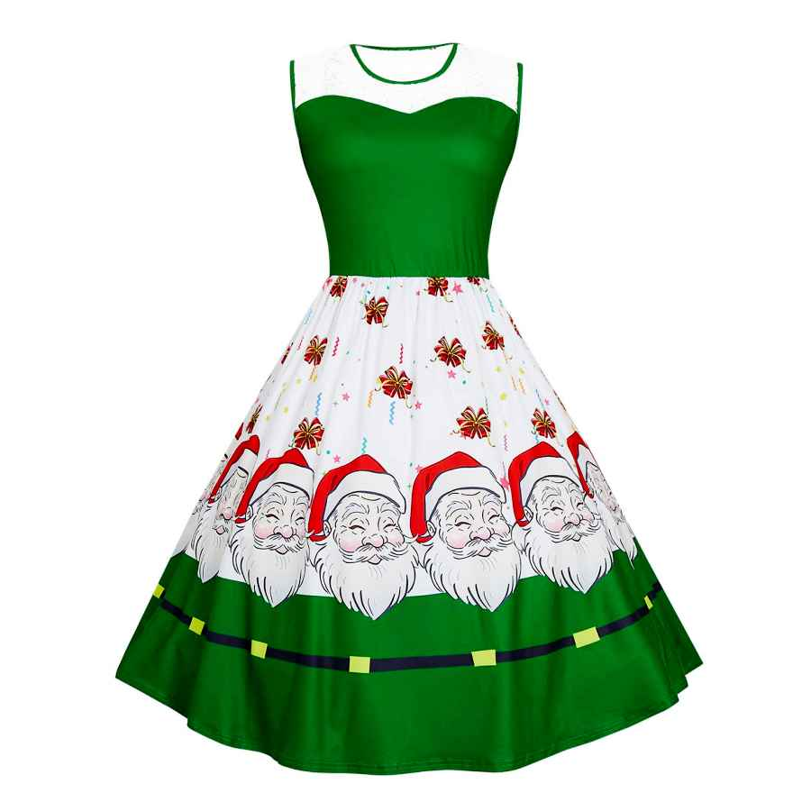Womens Casual Dresses Belovecol Women's Christmas Plus Size Dress Sleeveless 50s A-Line Swing Holiday Party Dresses