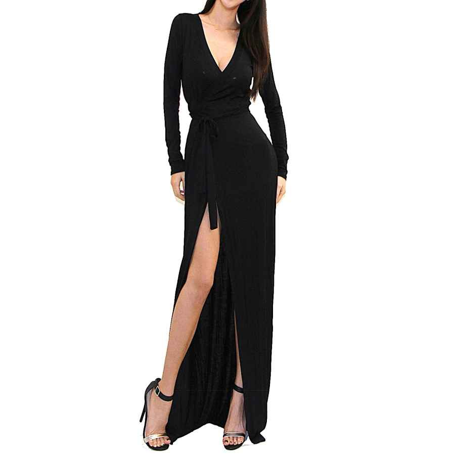 Womens Casual Dresses Vivicastle Women's Usa Sexy Long Sleeve Tulip Wrap Slit Front Full Long Maxi Dress