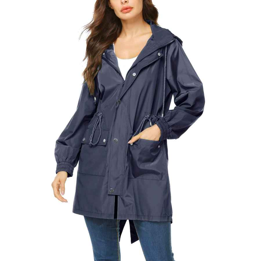 Avoogue Women Lightweight Rain Jacket Packable Hooded Fashion Rainwear Running Jacket