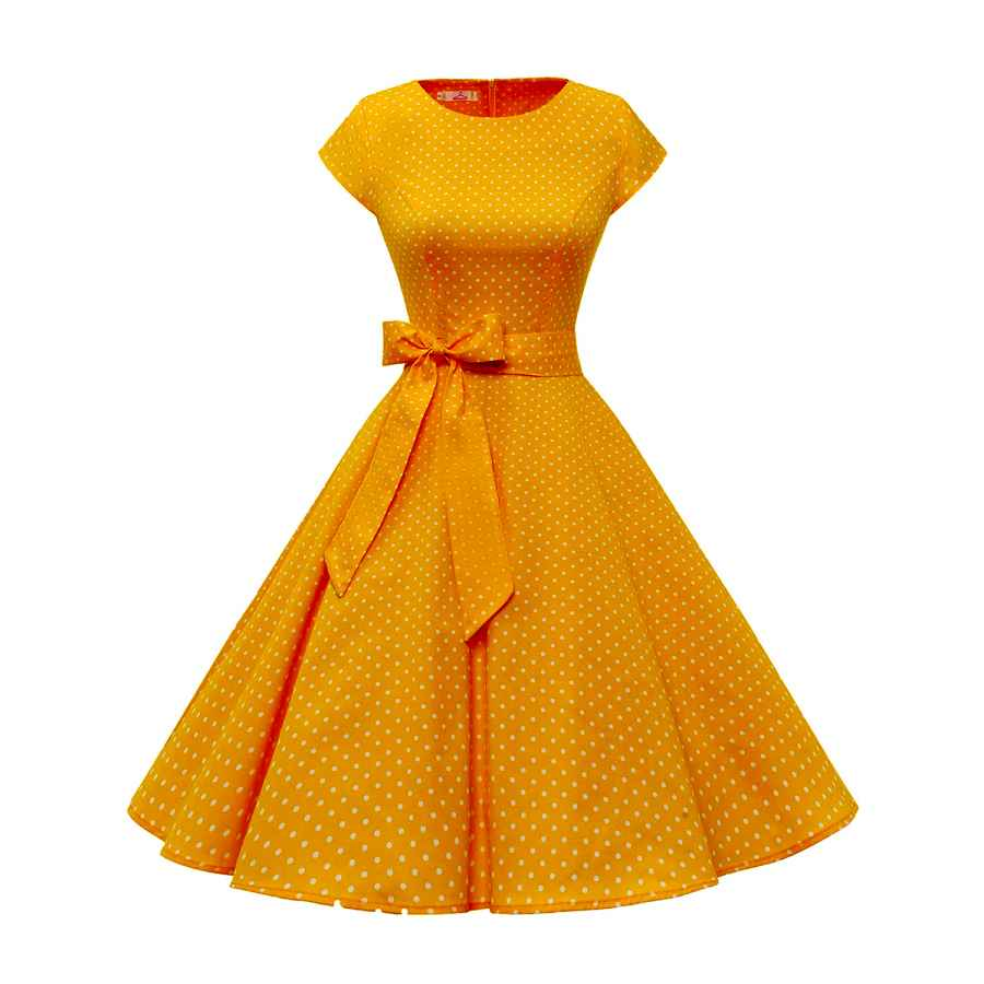 Womens Casual Dresses Dressystar Women Vintage 1950s Retro Rockabilly Prom Dresses Cap-Sleeve