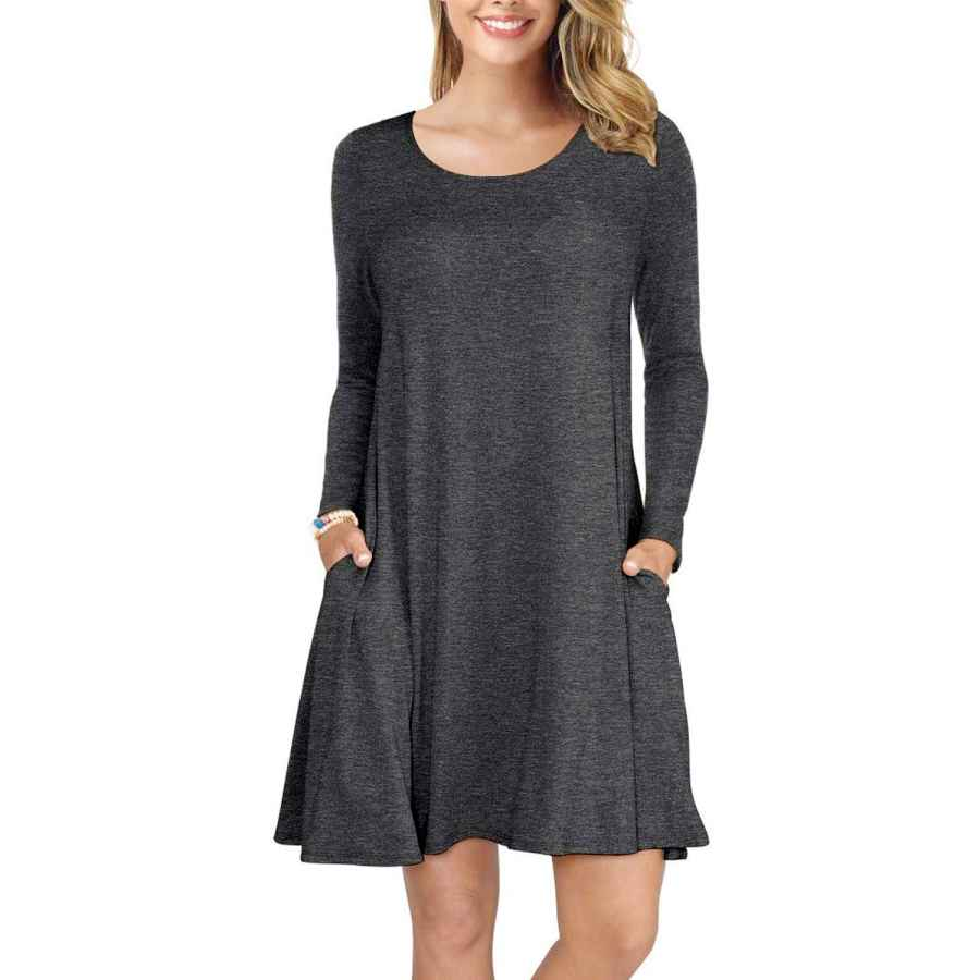 Womens Casual Dresses Genhoo Women Long Sleeve Swing T-Shirts Dress Round Neck Casual Loose Dresses With Pocket