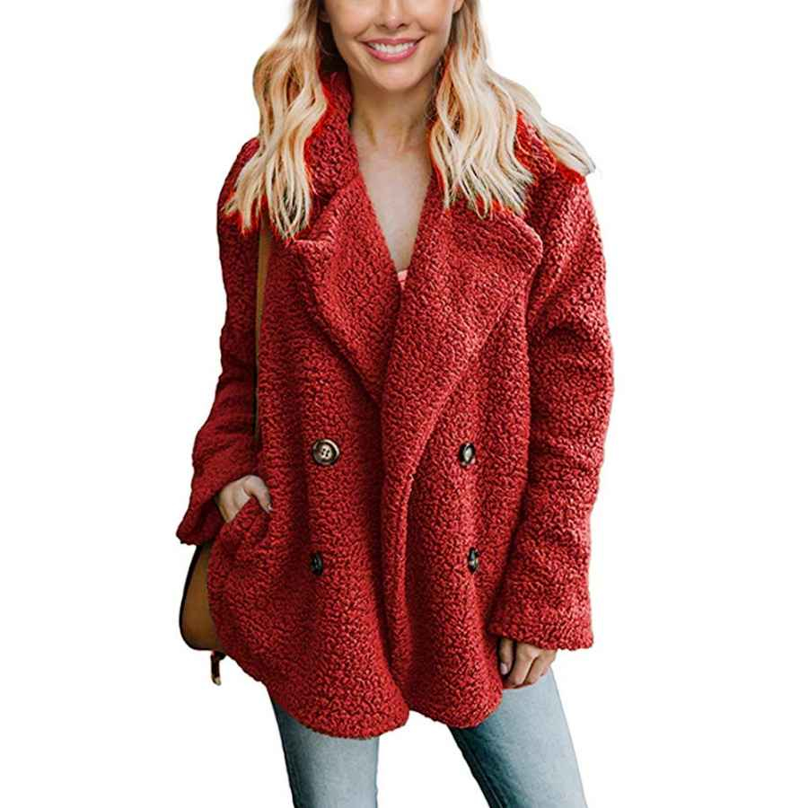 Uni Clau Women's Fashion Long Sleeve Lapel Double-Breasted Faux Shearling Oversized Coat Jacket With Pockets Warm Winter