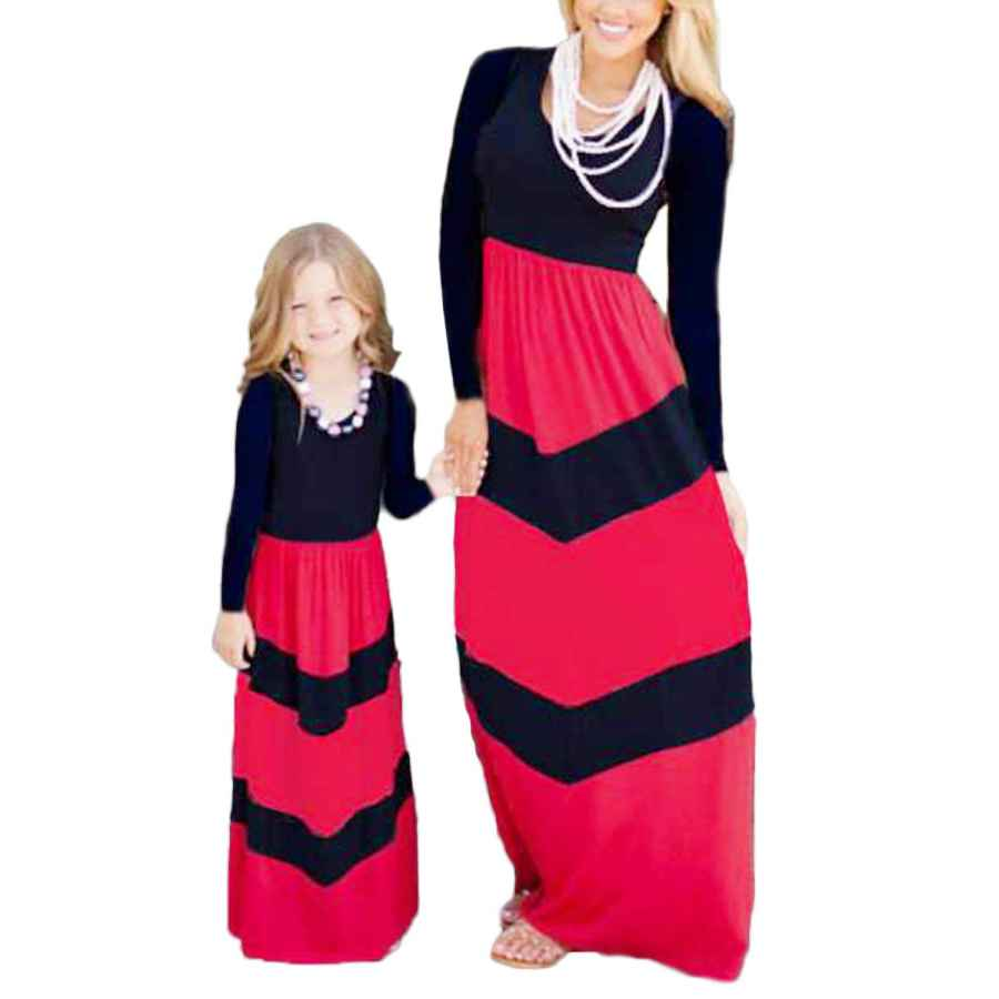 Womens Casual Dresses Wiwiqs Summer Cute Mommy And Me Boho Striped Chevron Maxi Dresses