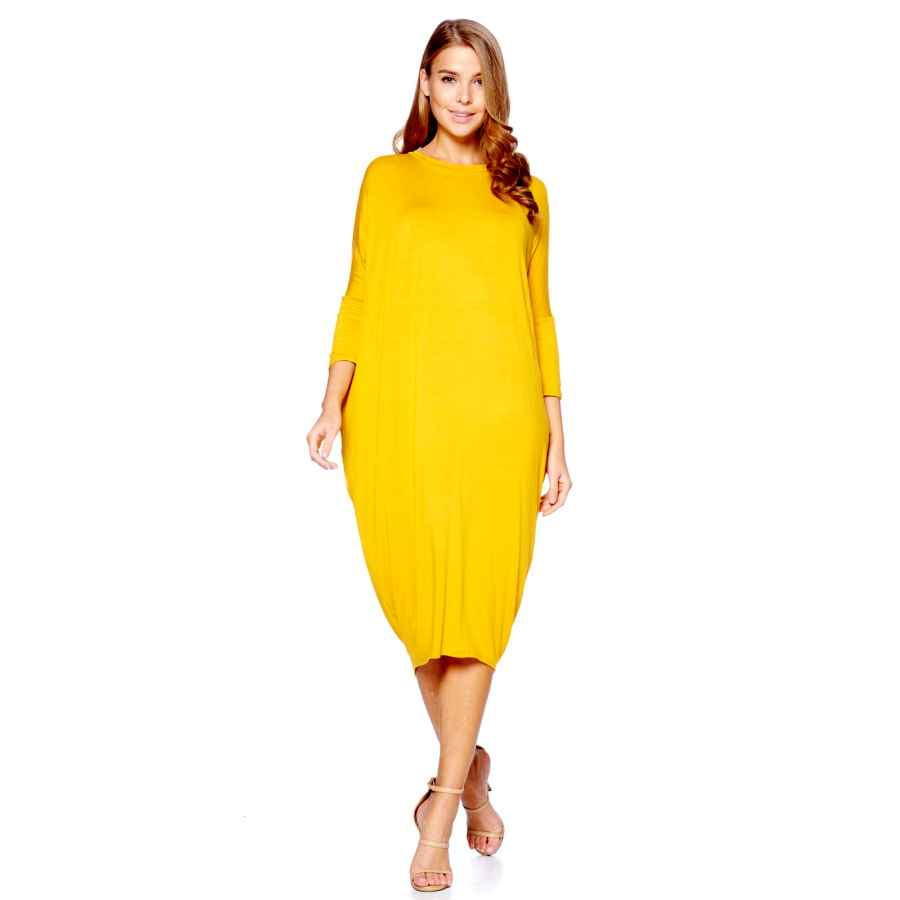Womens Casual Dresses 12 Ami Solid Long Sleeve Cover-Up Maxi Dress (S-2x) - Made In Usa