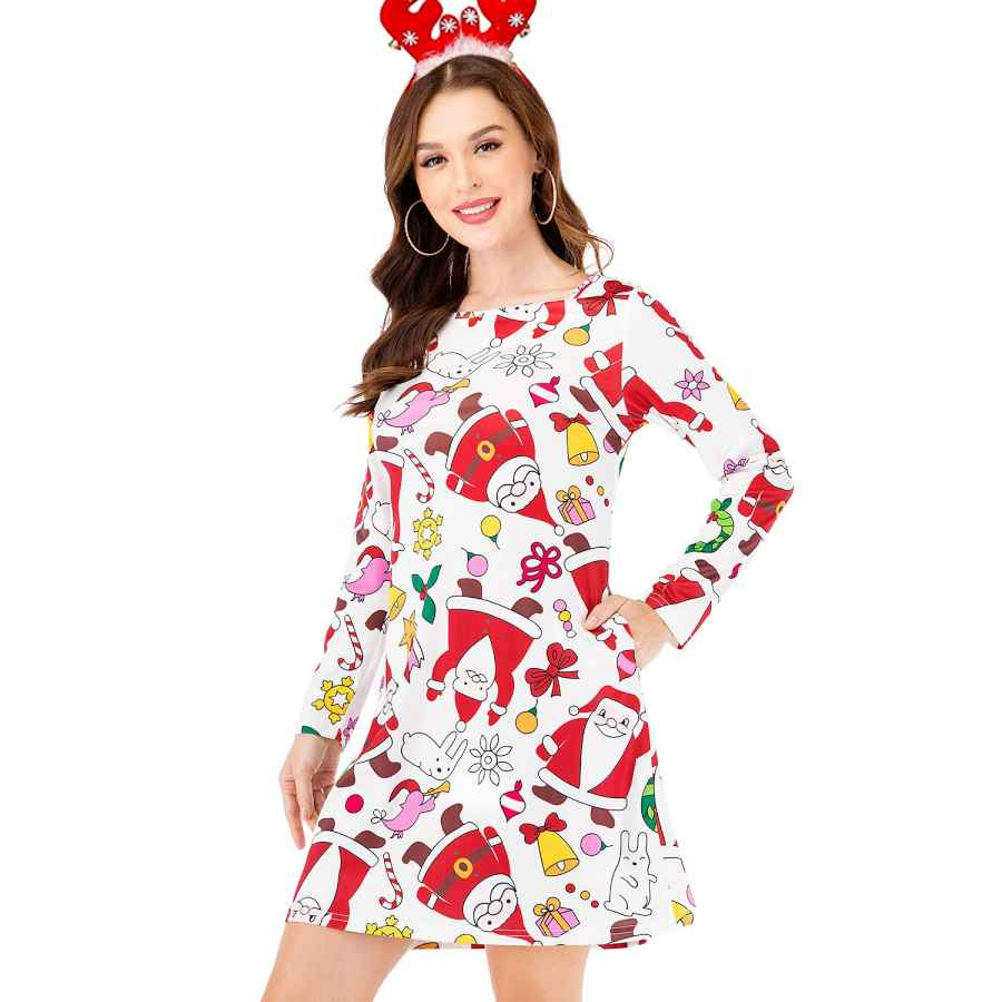 Womens Casual Dresses Tinkomu Women's Christmas Print Long Sleeve Cocktail Party A Line Dress With Pockets