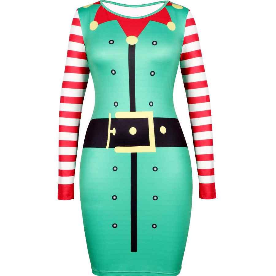 Womens Casual Dresses Women's Christmas Print Dress Round Neck Long Sleeve Bodycon Pencil Slim Dress Christmas Santa Elf Snowman Dress