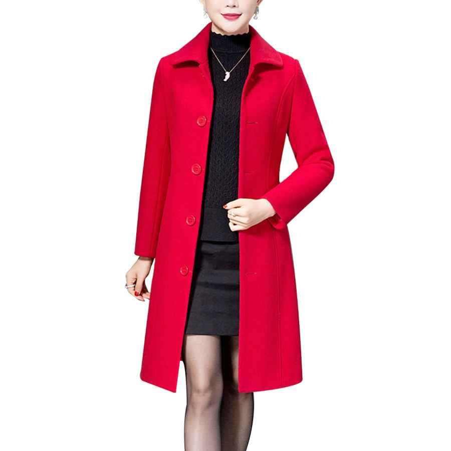 Haellun Women's Warm Single Breasted Pea Coat Winter Outwear Wool Blend Coat