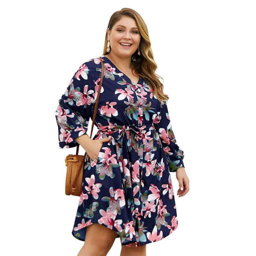 Womens Casual Dresses Holagift Women's Plus Size Floral Dresses Lace V-Neck 3/4 Long Sleeves Bohemian Belt Tie Wrap Casual Summer Party Beach Dress