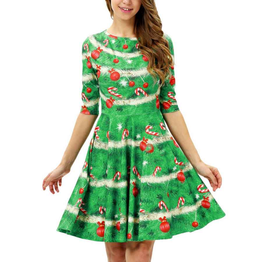 Womens Casual Dresses Timemory Women's Christmas 3d Print Short Sleeve Unique Casual Flared Midi Dress