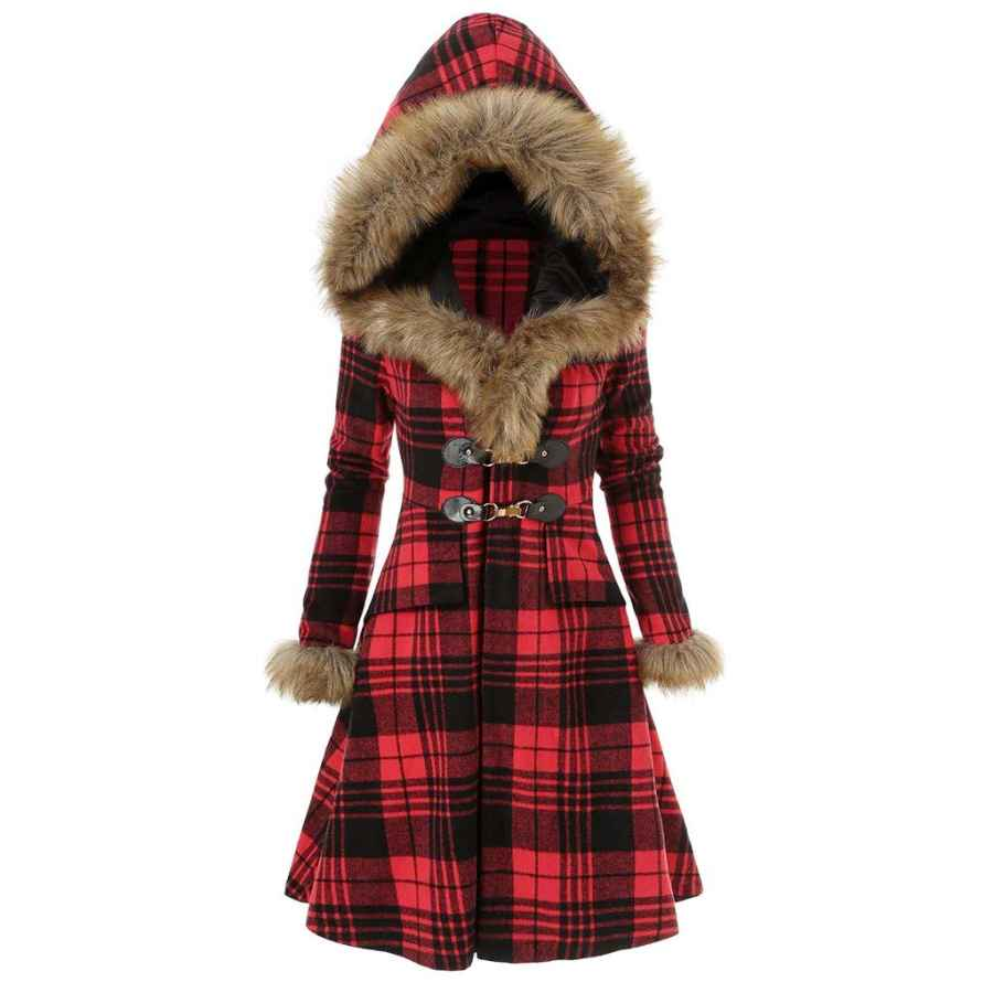 E-Scenery 2019 Womens Hoodie Faux Fur Coat Warm Fashion Plus Size Plaid Longline Overcoat