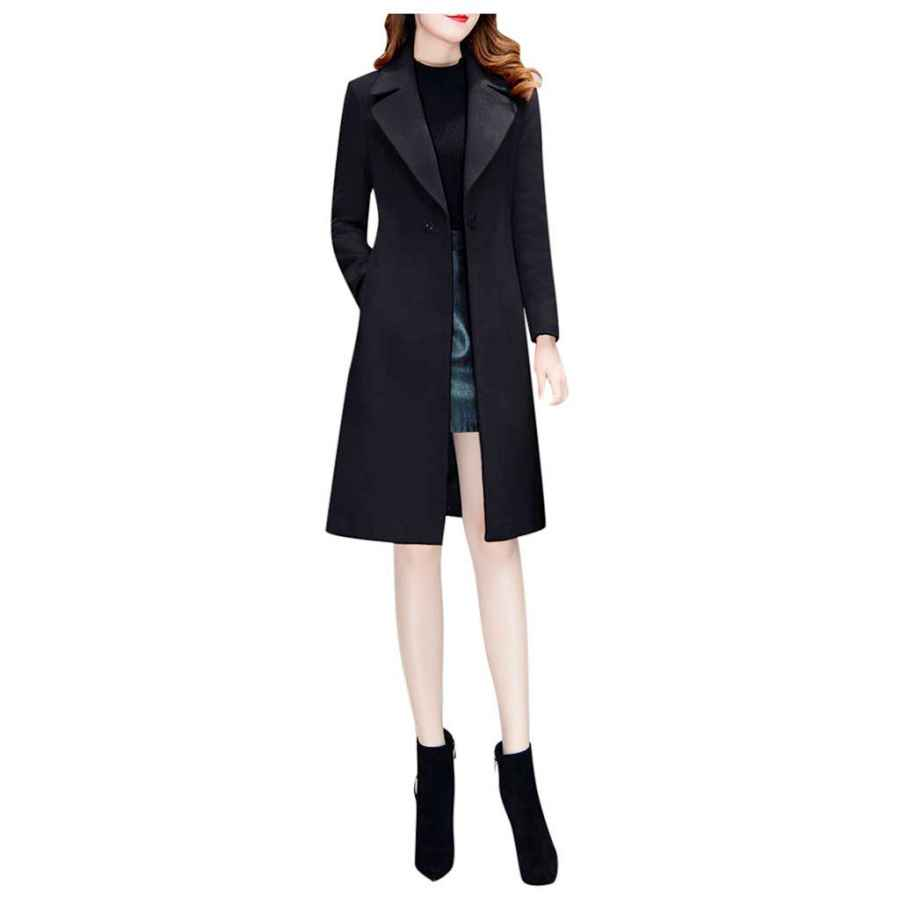 Listha Long Coat Women Lapel Parka Overcoat Winter Outwear Jacket Warm Cardigan