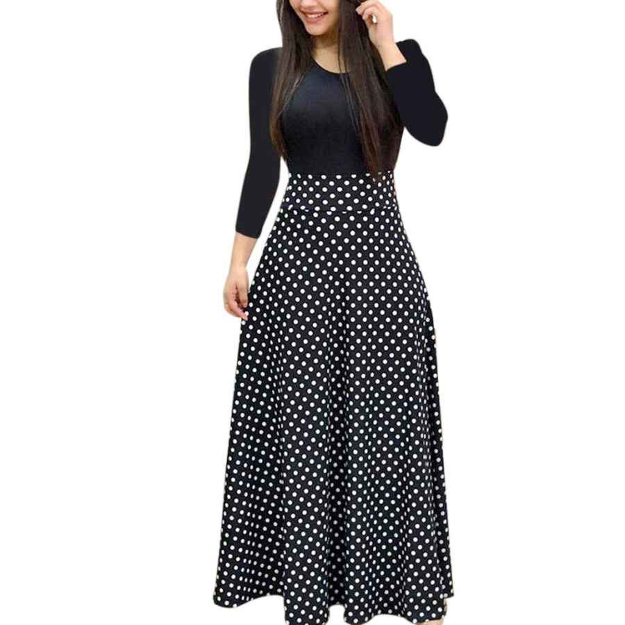 Womens Casual Dresses Bodoao Womens Floral Printed Maxi Dress Casual Short Sleeve/Long Sleeve Party Long Swing Dress