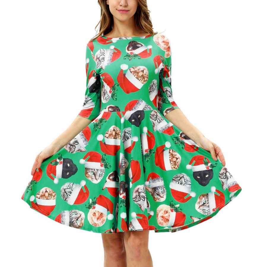 Womens Casual Dresses Fascivonne Women's Christmas Print Short Sleeve Unique Casual Flared Midi Dress