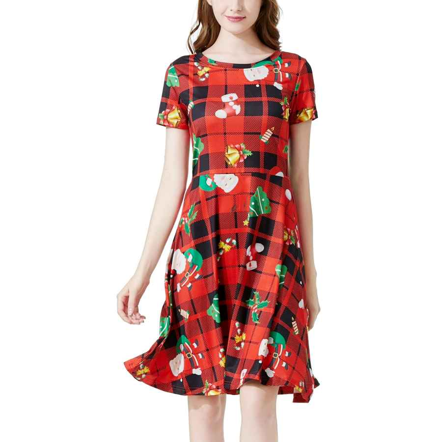 Womens Casual Dresses Womens Christmas Round Neck Casual Midi A Line Vintage Swing Dress