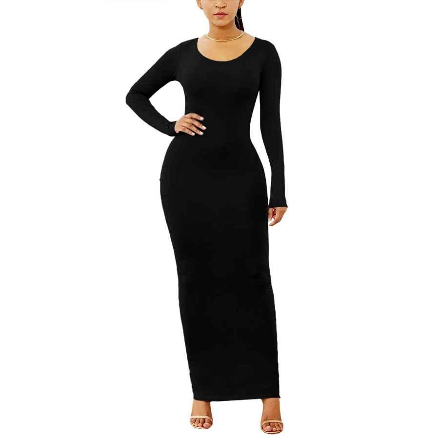 Womens Casual Dresses Ioiom Women's Long Sleeve Plain Maxi Dresses Casual Long Dresses