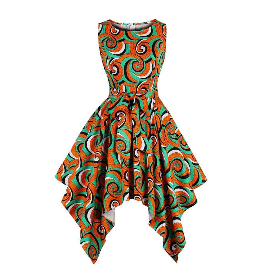 Womens Casual Dresses Wellwits Women's Dashiki African Print High Low Asymmetric Vintage Dress