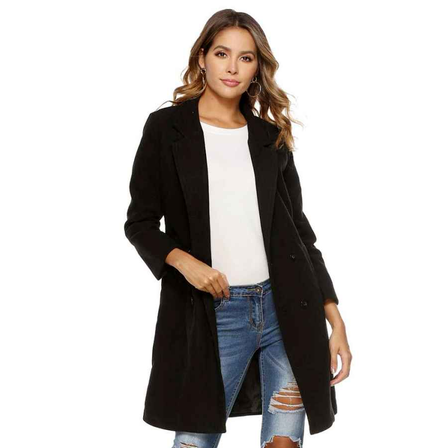 Chang Yun Womens Lapel Wool Blend Coat Cardigan Long Sleeve Casual Wrap Trench Overcoat Outwear With Belt