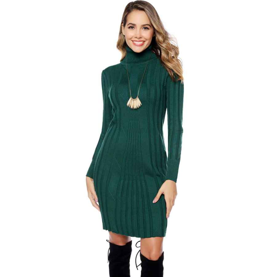 Womens Casual Dresses Hawiton Women's Long Sleeve Turtleneck Sweater Bodycon Dress Elasticity Slim Fit Knit Mini Dress