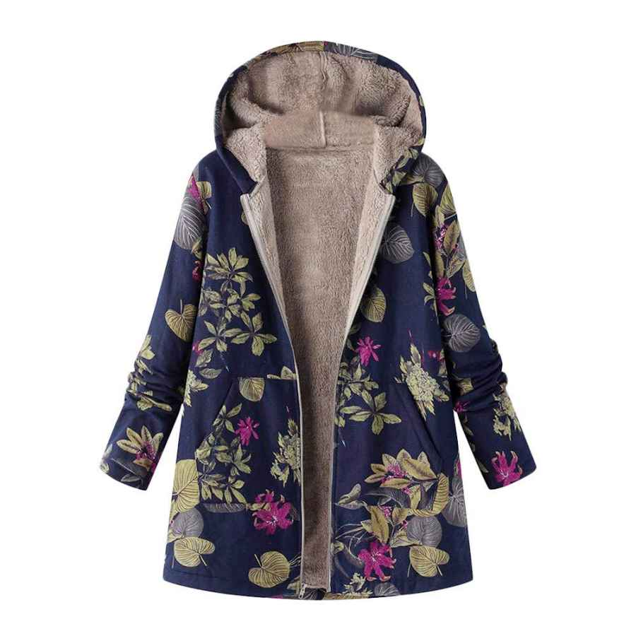 Totod Coats Parka Outwear Jacket Women Vintage Print Plus Size Flannel Lining Hooded Pocket Oversize Outercoat Overcoat